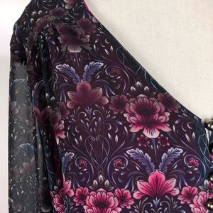 Nanette Lepore Tops - Nanette Floral Bell Sleeve Blouse Size XL